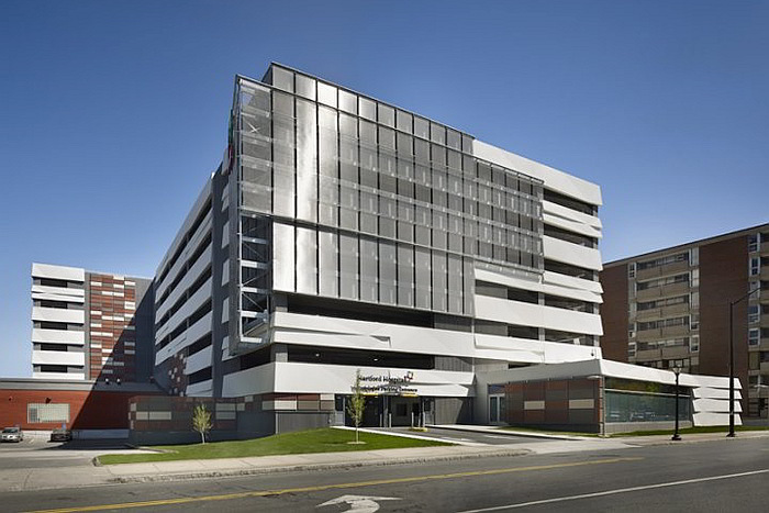 GKD Metal Fabric Parking Garage Facade Hartford Hospital Project