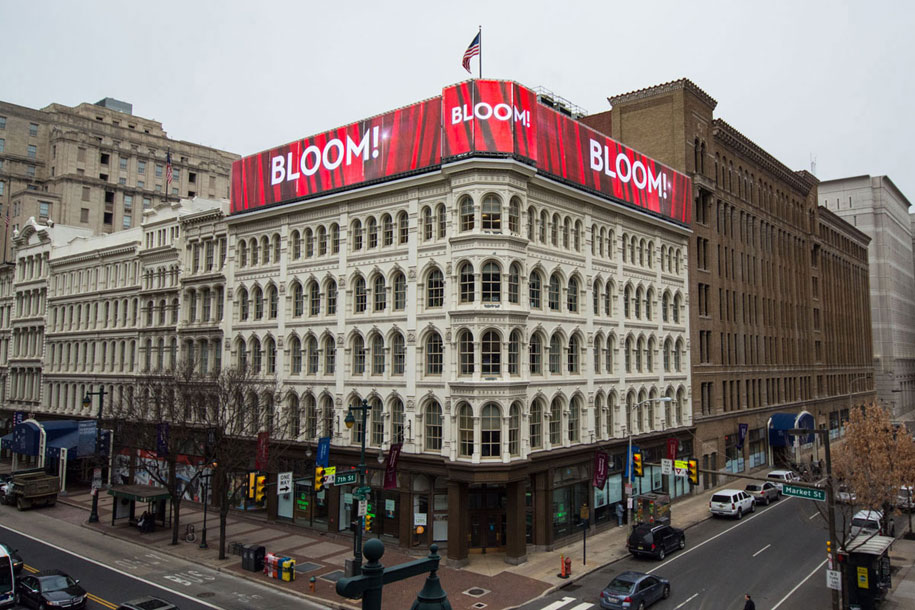 Mellon Independence Center Building, Philadelphia, Lit Brothers Department Store, Rooftop GKD Mediamesh Installation, 2015