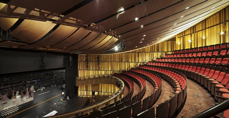 gkdmetalfabrics metal fabric lends historic theatre  singapore golden shimmer